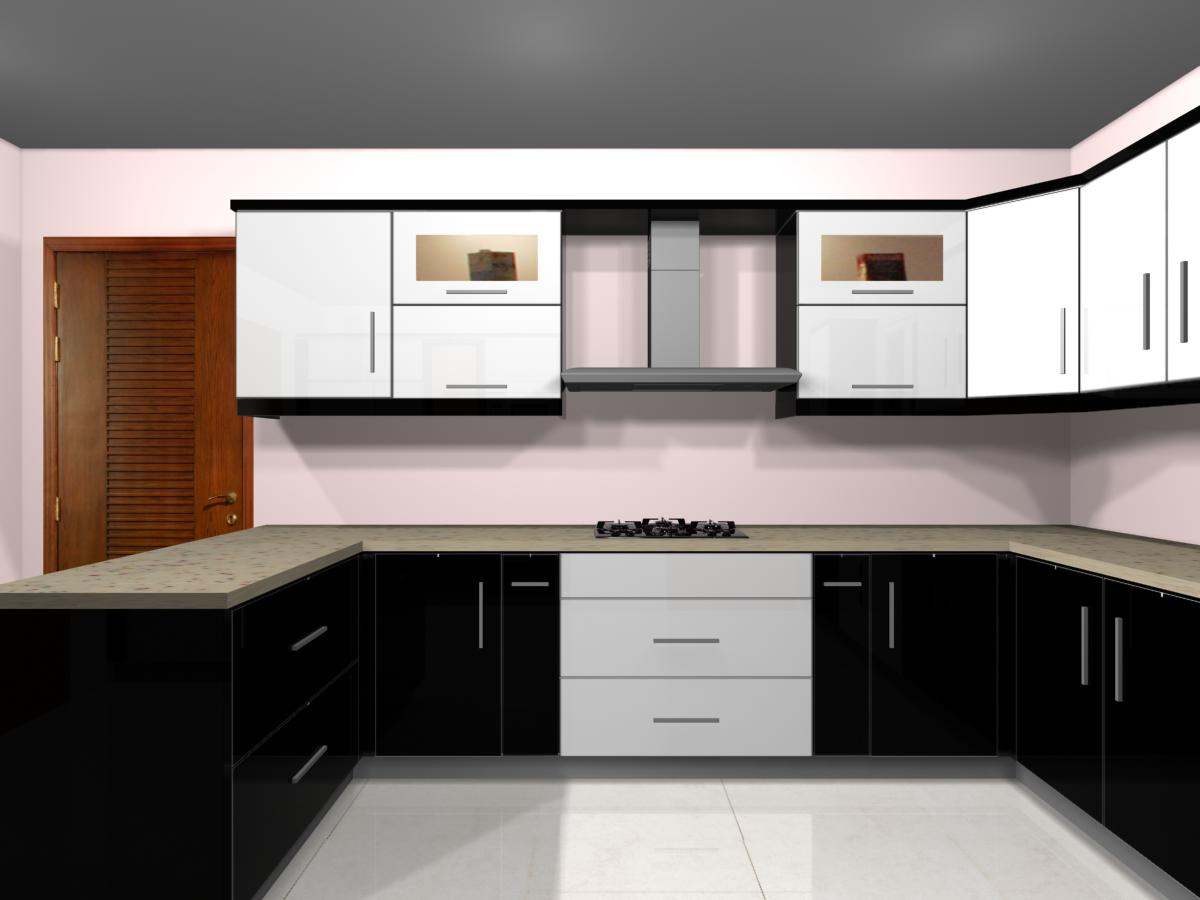 Kitchen Design From Al Naafay With Wood And Glass Work