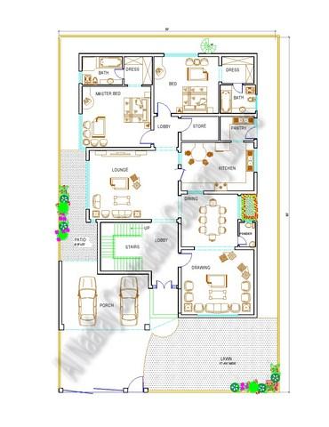 1 kanal floor plan ground floor