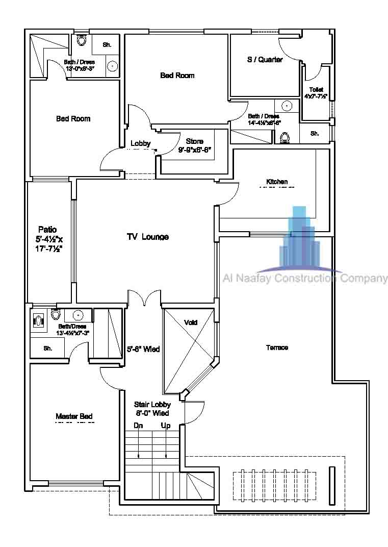 1 kanal house map ground floor